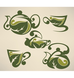 Herbal tea symbols collection vector