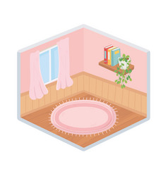 home room window carpet books and plant isometric vector image