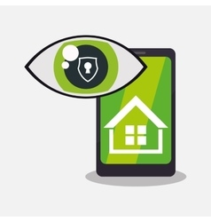 Home security smartphone technology vigilance vector