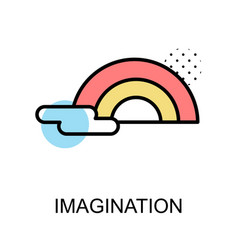 Imagination icon and rainbow on white background vector