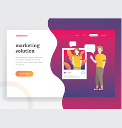 influencer landing page vector image