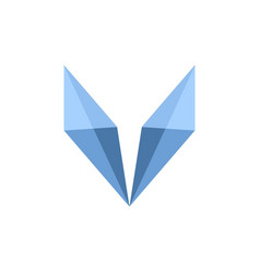 initial letter v logo template with low poly fox vector image