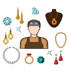 Jeweler and goldsmith with jewelries vector