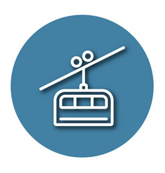Line icon of cable railway with shadow eps 10 vector