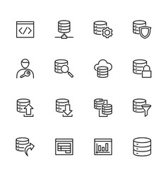 Line icon set related to database built vector