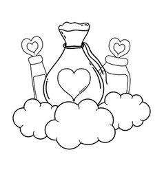 Love powder potion bag and bottles vector
