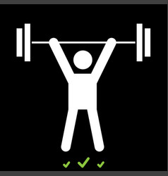 man uping weight it is white icon vector image