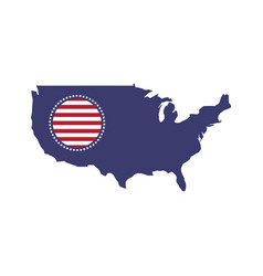 map usa and round flag in national colors vector image
