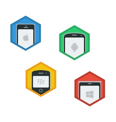 Mobile Platforms Flat Icons vector