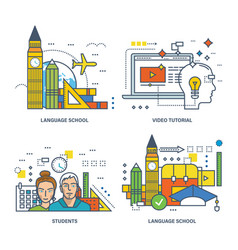 modern education language schools training video vector image
