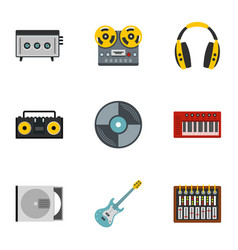 Music recording icon set flat style vector