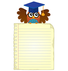 Notebook page with school owl theme 1 vector