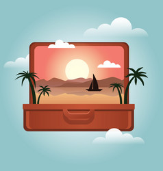 Open suitcase with a tropical island inside vector