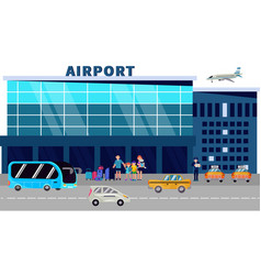 passengers stand at airport terminal and wait vector image
