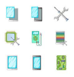 Phone repair servise icons set cartoon style vector