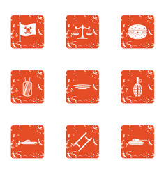 pirate law icons set grunge style vector image