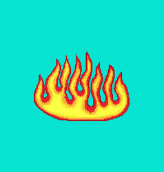 pixel fire art 8 bit fire objects game icons set vector image