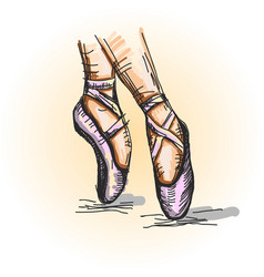 pointe shoes ballerina performs ballet hand vector image