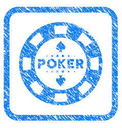 Poker casino chip framed grunge icon vector