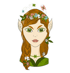 portrait of girl elf romantic image of a forest vector image