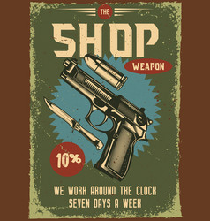 Poster design with a gun and its parts vector