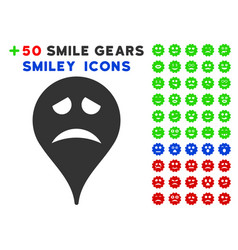Sadly smiley map marker icon with bonus emotion vector