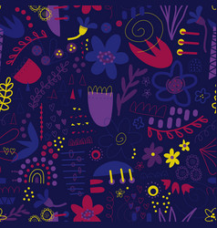 Seamless pattern abstract shapes collage purple vector