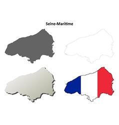 Seine-Maritime Upper Normandy outline map set vector