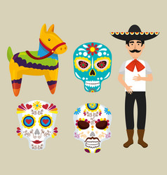 Set mariachi with donkey and dead masks vector