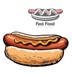 set of and logo hot dog vector image