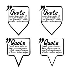 Set of quote blank with text icon and label vector