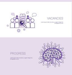 Set of vacancies and progress banners business vector