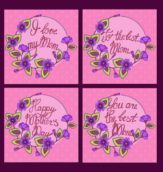 Set square card for mom blue vector