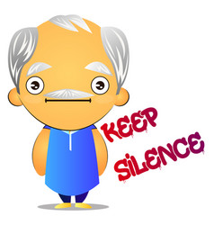silent old man on white background vector image