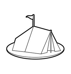 Sketch silhouette image camping tent in grass with vector