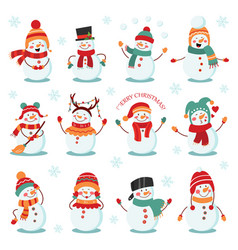 snowman winter holidays set cheerful snowmen in vector image