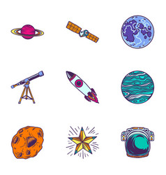 space travel icon set hand drawn style vector image
