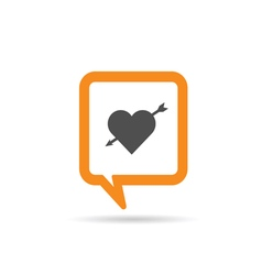 square orange speech bubble with heart vector image