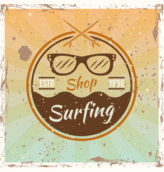 surfing colored vintage emblem with sunglasses vector image