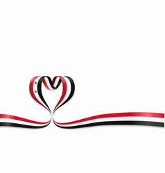 syrian flag heart-shaped ribbon vector image