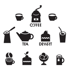 tea coffee dessert vector image