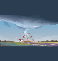Tornado in countryside hurricane landscape of vector