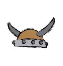Viking horned helmet ancient costume vector