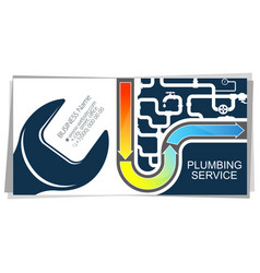water pipes and wrench plumbing business card vector image