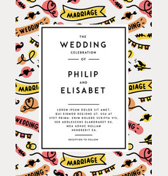 wedding invitation template vector image