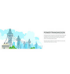 White banner of electric power transmission vector