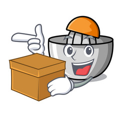 With box juicer character cartoon style vector