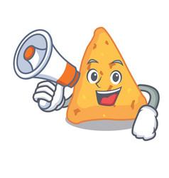 With megaphone nachos character cartoon style vector