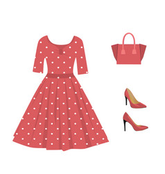 woman red outfit set dress handbag and shoes vector image