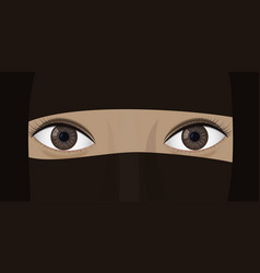 Young woman in niqab vector